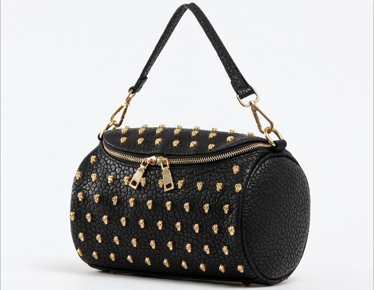 women's small lichee leather pillow skull bags skull handbags(China (Mainland))