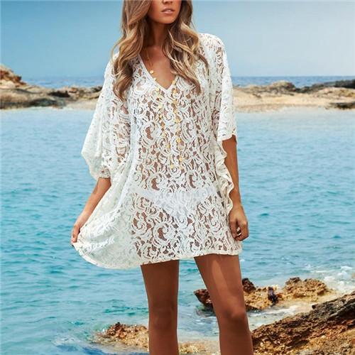 2015 Beach Cover-Up Crochet Bikini Swimwear Solid White Tunic Lace Sarong Swimsuit Beach Dress Bathing Suit Cover Ups Pareo #Q37(China (Mainland))