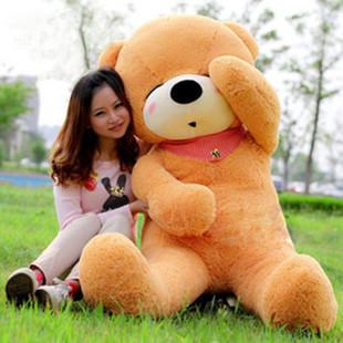 Hot new 100cm large big stuffed teddy bear 1m plush stuffed animals cute scarf sleeping teddy bear toys for kids birthday gift(China (Mainland))