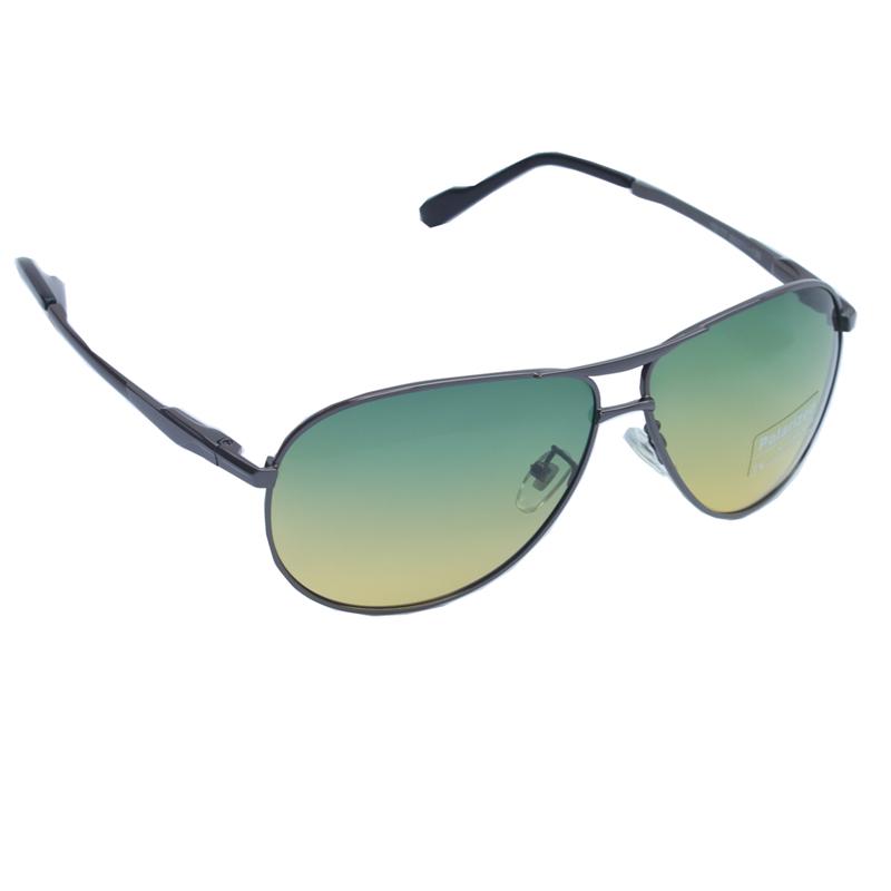 New Mens Polarized Metal Frame Sunglasses Night Vision Wrap-around Spring Hinge Eyewear UV400 9177(China (Mainland))