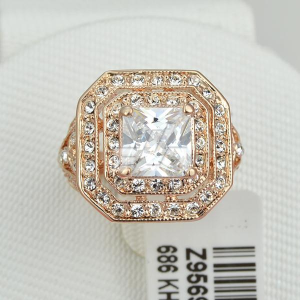 High quality ITALINA Brand plated 18k rose gold big stone CZ diamond male jewelry 3 Austrian crystal wedding men rings(China (Mainland))
