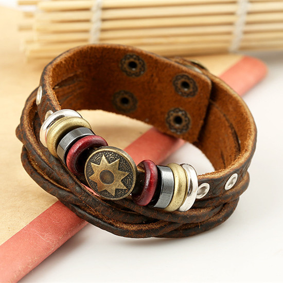 2015 New Man Vintage Braided Leather Bracelet Punk Metal Star Pattern Rope Bracelets Hip hop Multilayer