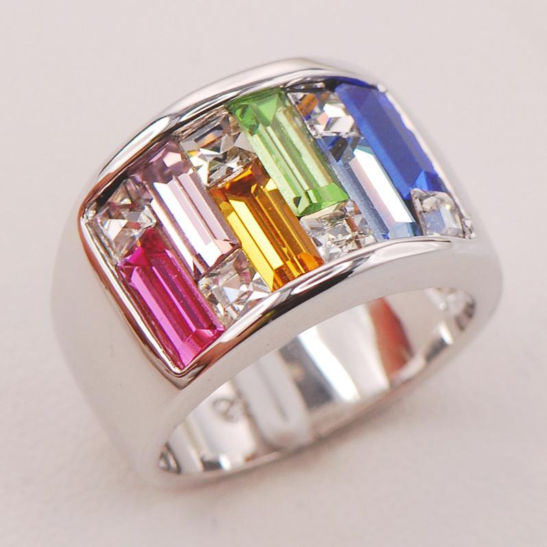 Pink Sapphire Morganite Citrine Peridot Aquamarine Blue Sapphire Women 925 Sterling Silver Ring F804 Size 6 7 8 9 10(China (Mainland))