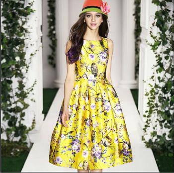 2015 высокое качество свободного покроя лето долго летнее платье женщины печать вспышка платье старинные ну вечеринку платье шифон свадебные платья femininos