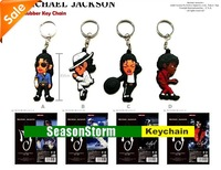 4 PCS Michael Jackson Collection Rubber Keychain / Souvenirs Phone Charm
