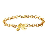 Custom name bracelet golden plated silver bracelet