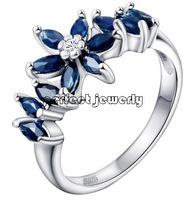 Sapphire ring Natural blue sapphire 925 silver plated 18k white gold, blue flower style For lady or girls Free shipping