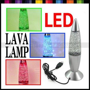 2.5W Multi Color colorful Rocket LAVA LAMP USB LED Lamp Light Silver #026
