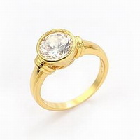 Ladies' 24K Real Yellow Gold Plated & 3.0 CT Round Brilliant Cut Grade AAA Solitaire Cubic Zircon Diamond Ring (0499)