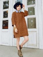 The new Korean version of the retro side slits loose Long sleeve head coarse twist loose knit dress