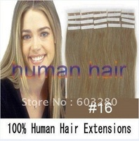 "16""18""20""22""24"" Tape remy Human Hair Extensions #16 ash blonde color 30g/40g/50g/60g/70gram per pack"