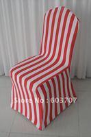 red stripe print spandex chair cover