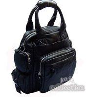 FREE SHIP Wholesale 2014 New Fashion 4use Women backpack Black 100% Genuine leather Backpack Tote Bag  School Backpack
