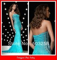 ED9 Custom Made Best 2013 Sheath Strapless Fashion Evening Dress Floor Length Beadings Satin  Prom Dress