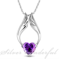 free shipping super large purple crystal genuine pure 925 sterling silver pendant necklace,angel wing shap pendant CP053