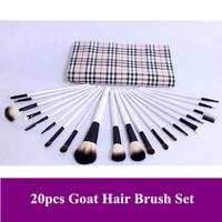 Free shipping! New Pro 20 pcs natural animal goat hair cosmetics brush makeup brushes sets kits PU bag, dropshipping!