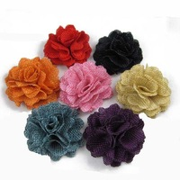 Free shipping!24pcs/lot 6cm New  flax fabric flowers 20 colors for your choice