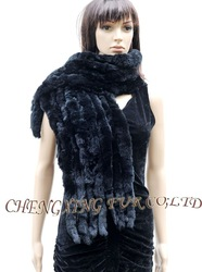 CX-B-10F Rex Rabbit Fur 8- Row Shawl Scarf ~ DROP SHIPPING(China (Mainland))