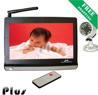 Free shipping 2.4GHz wifi wireless baby monitor 7 + 7 inch TFT LCD with camera + wholesale/retail