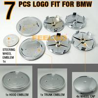7Pcs/set  Black/Silver Carbon Fiber Emblem logo badges SET For BMW #2984