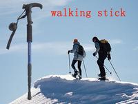 Free Shipping Retractable Anti-shock Walking Stick Aluminum Hiking Stick Outdoor Straight Bar Pole Climbing Alpenstock