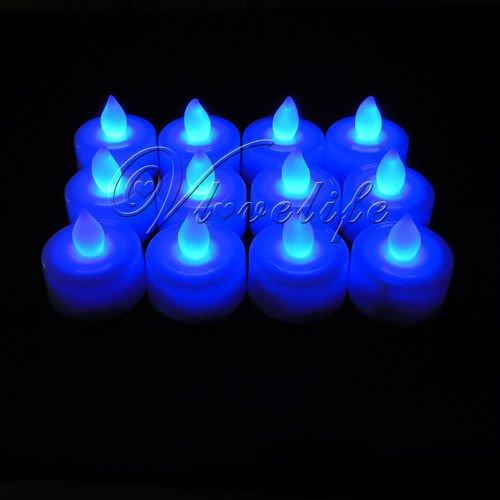 Free shipping &BLOW IT OUT 12PCS Blue Tea Light LED Candle Xmas Wedding(China (Mainland))