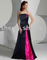 free ship Newest style Modern fashion Graceful Satin Evening dress black with rose