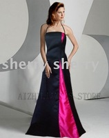 free ship Newest style Modern fashion Graceful Satin Evening dress black with rose