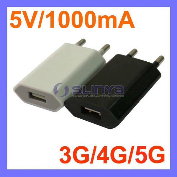 5V 1000mA AC Power USB Wall Charger For iPhone 6G 5G 4G iPod EU Plug(China (Mainland))