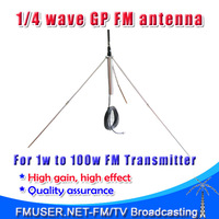 Freeshipping 1/4 wave Professional GP Antenna for 5w,7w,15w,30w,50w,100w FM Transmitter BNC or NJ with 8meters 26ft. cable