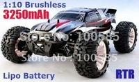1/10 scale 4WD Brushless Monster Truck, 7.4V 3250mAh Lipo Battery