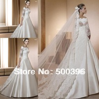 Custom Made Modest 3/4 Lace Long Sleeves Designer Cathedral Train Wedding Dress Elie Saab Bridal Weddings & Events Gowns