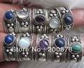 R033  Tibetan Silver Inlaid Natural Stone Rings,Tibet Antiqued Vintage open rings,Best offer,mix order