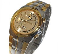 Free ship fee Massive stainless steel gold luxury jewelry gent man Wrist Watch K61