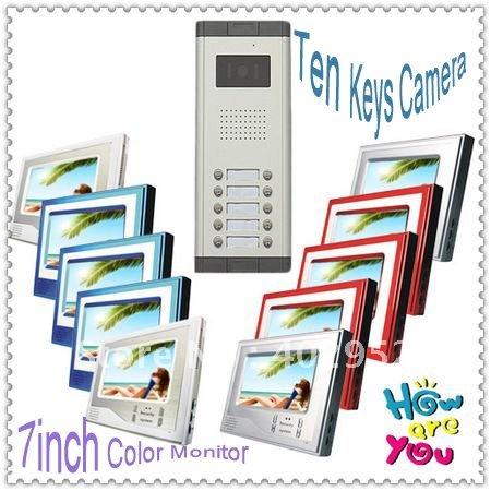 New Multi-unit Ten floors/families /Video door phone intercom system for villa +Ten buttons camera / free dropshipping(China (Mainland))