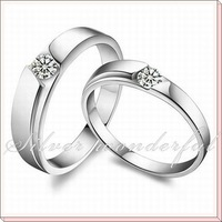 New Fashion 925 Sterling Silver Jewelry Couple Wedding Ring for Men and Women WR066
