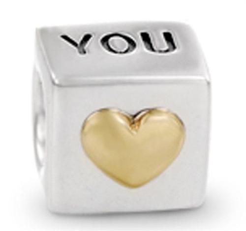 "Min order $10 free shipping 925 Fashion Bead Charm "" You Heart "" Bead European Silver Bead Fit BIAGI Bracelet H268 wholesale(China (Mainland))"