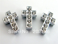 100pcs 8mm rhinestone  Cross Slide Charms Fit Pet Dog Cat Tag Collar Wristband