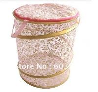 Free Shipping 5pcs/lot,Mixed wholesale,6color,Gilt edges,Dirty clothes Folding Storage basket,Mesh,Toy basket-Gold foil-Pink