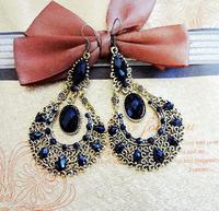 Retro fashion imitate gemstone alloy women earrings(3color mix) FE-038