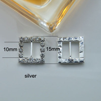 (M0162-10mm inner bar) square rhinestone buckle for wedding invitation card,silver or gold plating
