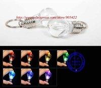 300pcs/lot Colorful changed LED bulb key chain light WJ002
