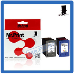 Free Shipping C6656A C6657A Compatible Ink Cartridge For hp56 57 HP Deskjet F4140 F4180 450CBI 5150 5550(2PK)(China (Mainland))