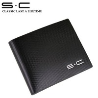S.C Free Shipping wholesale + Brand name genuine Leather Wallet for men + Gent 100% Leather purses hot fashion QY0008-1