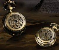 Free ship 10pcs/lot Antique Ladies Bronze Case With Chain Necklace Pocket Watch Pendant Watches