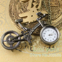5pcs/lot Antique Bronze Bicycle Quartz Pocket Watch Pendant Necklace Watches