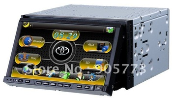 2din 7inch car dvd player with Flip down screen, 3D GUI, GPS, Bluetooth,RDS, PIP, IPOD,TV,DUAL ZONE,free map,free TV antenna