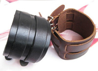 Cool Men Women Two Layer Punk Belt Men Genuine Cow Leather Bracelet Wristband Cuff Bangle Free Shipping