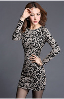 Spring 2014 New Hot Sale Sheath dress cocktail women dresses full sleeve sexy skinny dress O-neck grey embossment free shipping