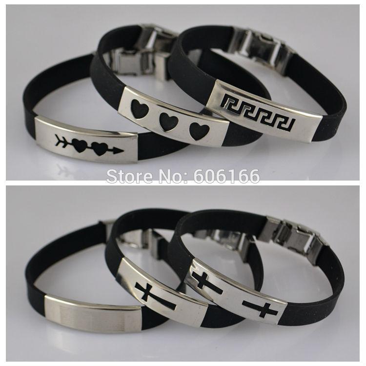 12pcs lot Mix Style Black Silicone Bracelet Stainless Steel Buckle Bracelets Cross Heart Cupid Wristband Fashion